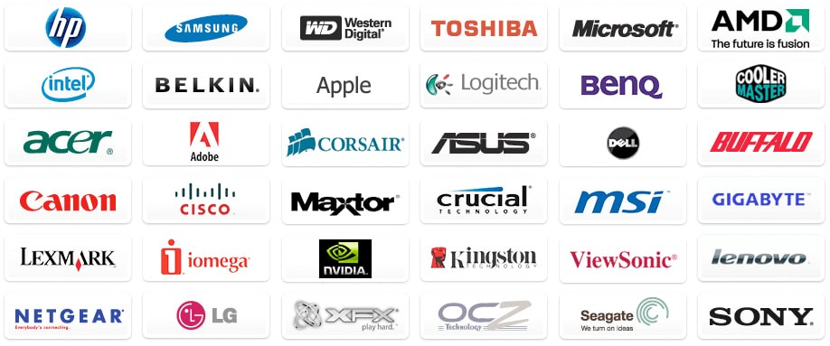 List of brands available on our Technology Centre.