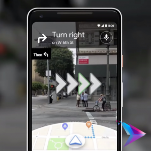 Image of a phone with google maps ar opened.
