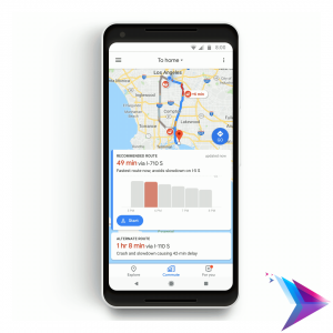 Image of a phone running Google Maps.