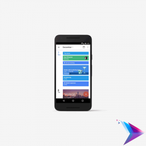 Image of a phone with google calendar open