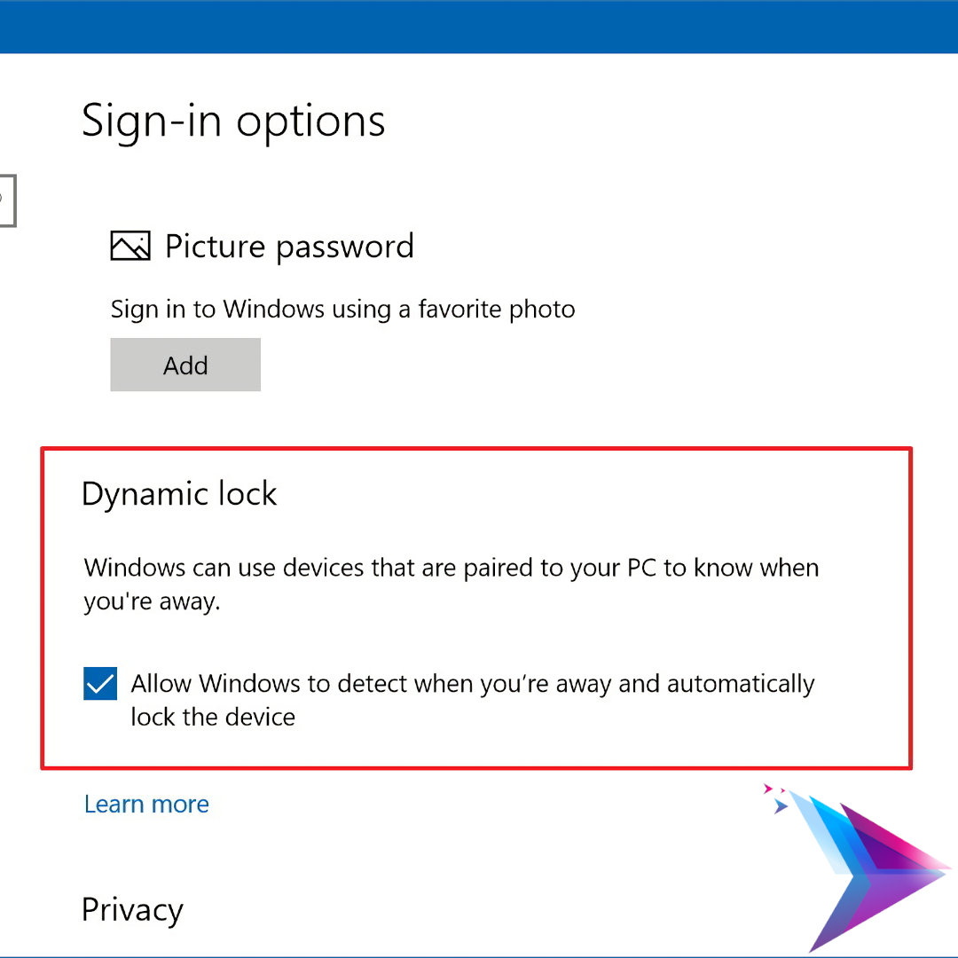 Windows 10 Dynamic Lock.