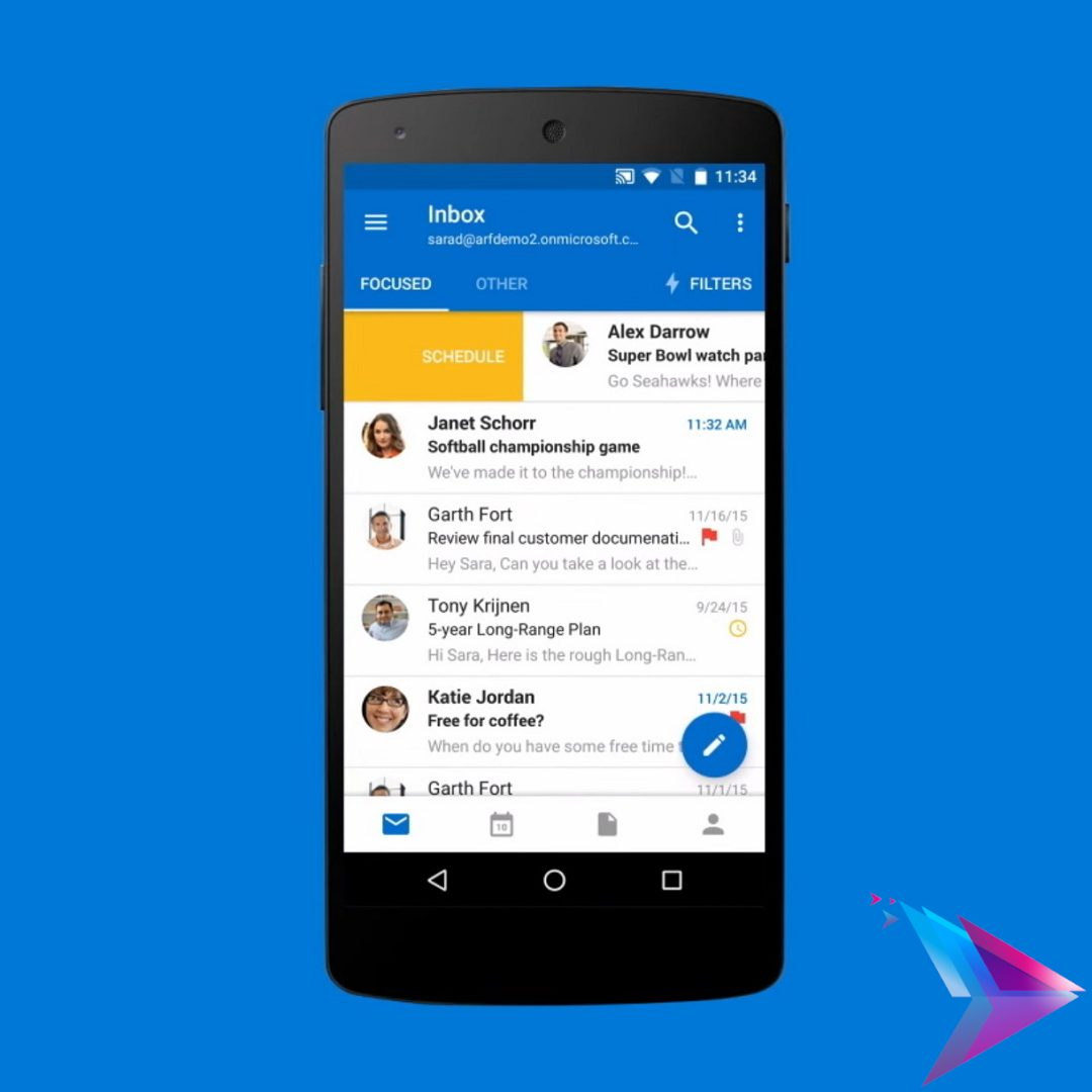 Image of outlook on a mobile device.
