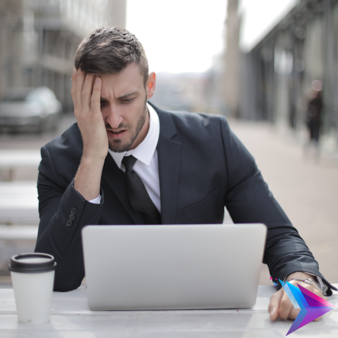 Man having issues with laptop