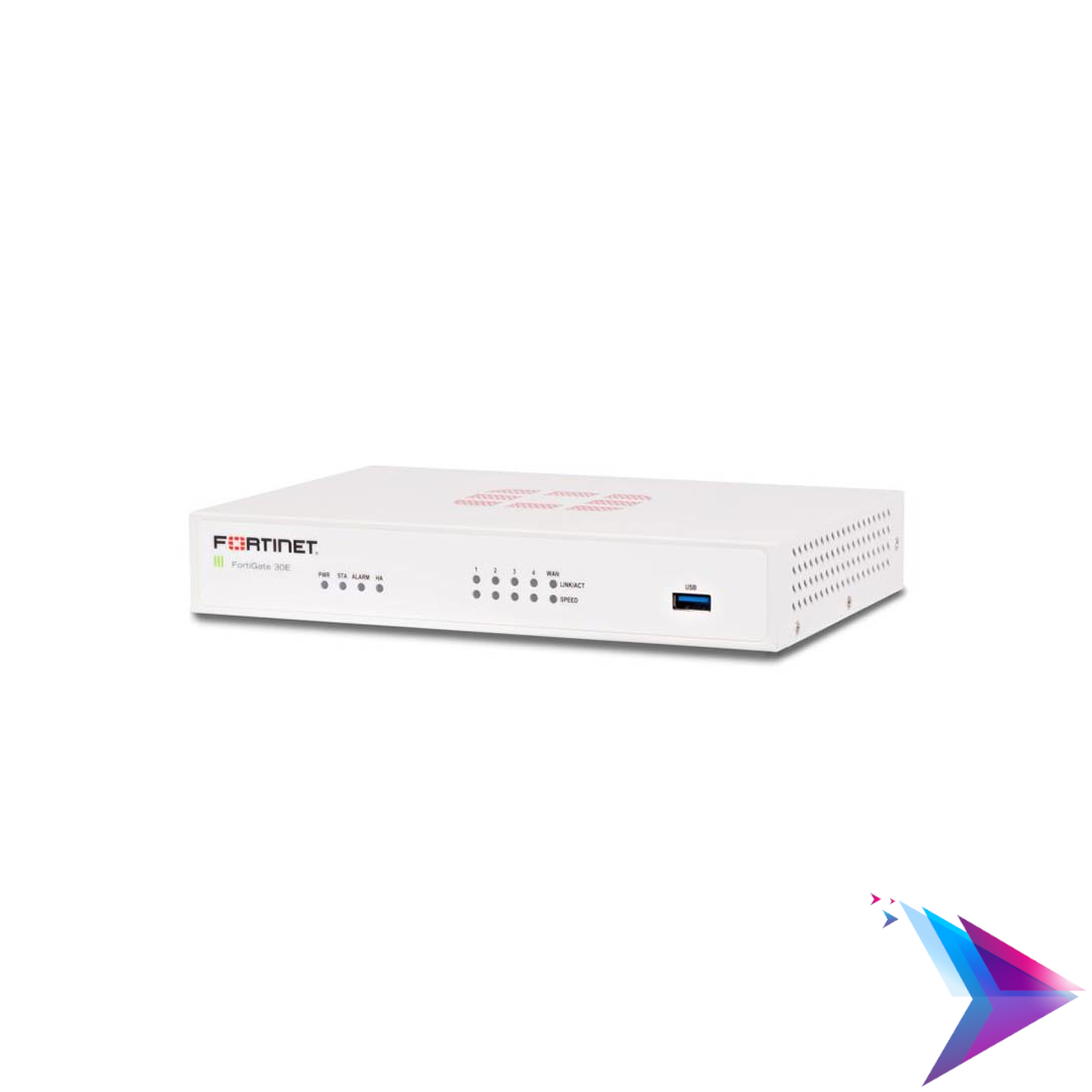 Image of a Fortinet Fortigate 30E Firewall