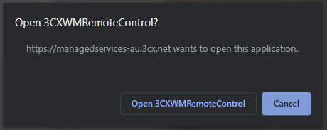 Pop-Up to allow 3CX WebMeeting Remote Control to open.