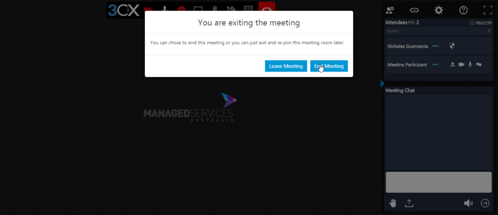 Image of a cursor hovered over the End Meeting button in a 3CX Web Meeting.